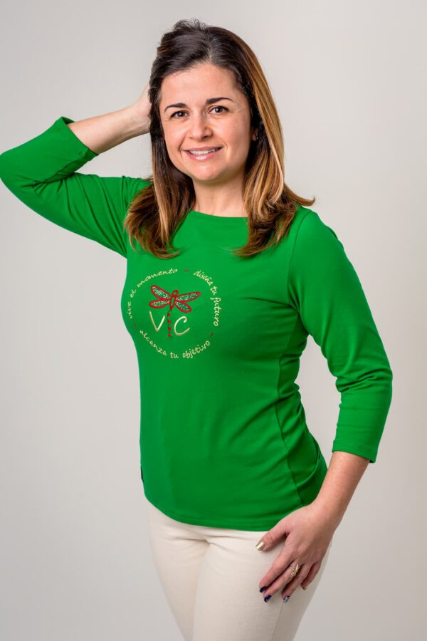 Prenda con mensaje Libélula Verde